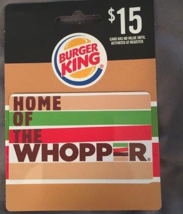 Giveaway -$15 Burger King Gift Card For July!