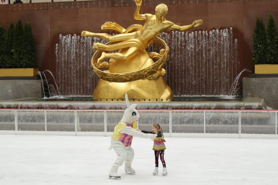 NEW YORK, NY - MARCH 27: The Easter Bunny skates on The Rink at Rockefeller Center on March 27, 2016 in New York City. (Photo by Neilson Barnard/Getty Images)